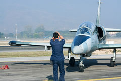41112 L-39 Albatros de l'Armée de l'Air thaïlandaise royale Images libres de droits