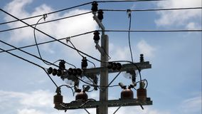 L'albero con i cavi elettrici stock footage