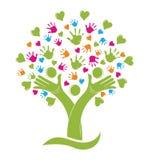 L'albero con le mani e la famiglia dei cuori calcola il logo royalty illustrazione gratis