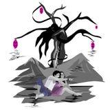 L'albero degli amanti, amanti felici si rilassa dall'albero illustrazione di stock