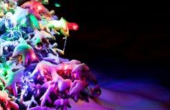 L'albero del nuovo anno scintillare Dressed sotto la neve della polvere. fotografia stock