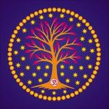 L'albero della vita con il Aum/OM/ohm firma dentro il centro della mandala sui precedenti delle stelle e del cielo blu Vettore Fotografia Stock