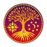 L'albero della vita con il segno Aum/ohm/OM nel centro della mandala fotografie stock
