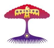 L'albero della vita Albero simbolico con il sole e l'uccello immagini stock libere da diritti