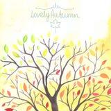 L'albero di autunno dell'acquerello con la caduta va Immagini Stock Libere da Diritti
