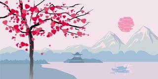 L'albero di fioritura con i cuori sui precedenti della vista sul mare cinese abbellisce Fotografie Stock Libere da Diritti