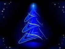L'albero di Natale astratto con l'azzurro illumina la stella Fotografia Stock