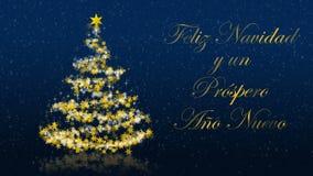 L'albero di Natale con brillare stars su fondo blu, saluti di stagioni dello Spagnolo royalty illustrazione gratis