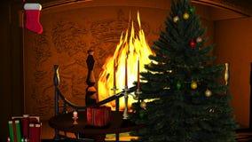 L'albero di Natale con i regali e le candele si avvicinano al camino Immagine Stock Libera da Diritti