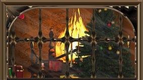 L'albero di Natale con i regali e le candele si avvicinano al camino Immagini Stock Libere da Diritti