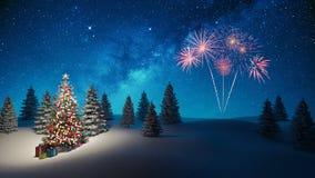 L'albero di Natale decorato nel fondo 3d di notte dell'inverno rende immagine stock libera da diritti