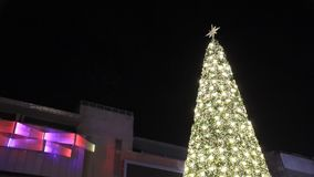 L'albero di Natale del fondo del fuoco dell'albero di scena di Natale si accende video d archivio