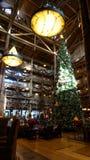 L'albero di Natale gigante alla casetta della regione selvaggia immagine stock libera da diritti