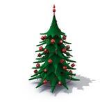 L'albero di Natale ha decorato il colore rosso Immagini Stock Libere da Diritti