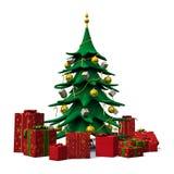 L'albero di Natale ha decorato l'oro con i presente rossi Immagine Stock Libera da Diritti