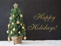 L'albero di Natale, manda un sms alle feste felici, calcestruzzo nero Fotografia Stock Libera da Diritti