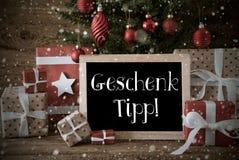 L'albero di Natale nostalgico, i fiocchi di neve, Geschenk Tipp significa la punta del regalo Immagini Stock