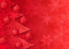 L'albero di Natale orna il reticolo dei fiocchi di neve Fotografia Stock Libera da Diritti