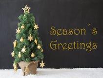 L'albero di Natale, testo condisce i saluti, calcestruzzo nero Fotografie Stock Libere da Diritti