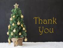 L'albero di Natale, testo vi ringrazia, calcestruzzo nero Fotografie Stock