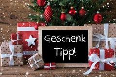 L'albero di Natale variopinto con i fiocchi di neve, Geschenk Tipp significa la punta del regalo Fotografie Stock