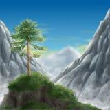L'albero di pino solo si incontra la mattina Fotografie Stock Libere da Diritti