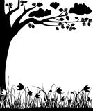 L'albero ed i tulipani sboccianti, la sorgente, blocco per grafici, vector Fotografie Stock