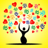 L'albero Handprints significa Valentine Day And Childhood Fotografie Stock Libere da Diritti