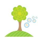 L'albero sintetizza l'ossigeno Gli esseri umani respirano Verde pulito dell'ambiente illustrazione di stock