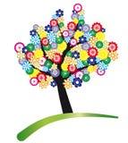 L'albero stylized con i fiori Fotografie Stock