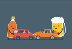 L'alcool font l'accident de voiture Photos libres de droits