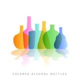 L'alcool met la silhouette en bouteille colorée Photos stock