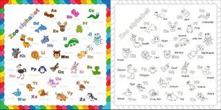 L'alfabeto animale inglese dello zoo dei bambini completi con Fotografie Stock