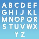 L'alfabeto AtoZ segna ABC con lettere per i bambini che imparano con il fondo blu Fotografie Stock