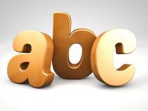 L'alfabeto bronzeo di ABC del metallo segna 3d con lettere per rendere Fotografia Stock Libera da Diritti