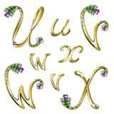 L'alfabeto dell'oro con le gemme segna U con lettere, la V, W, X Fotografia Stock