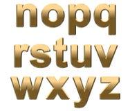 L'alfabeto dell'oro segna N-Z con lettere minuscolo su bianco Immagine Stock Libera da Diritti