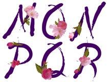 L'alfabeto della sorgente con i fiori segna la m. con lettere, N, la O, P, la Q, R Immagini Stock