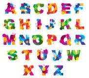 L'alfabeto delle lettere dipinto da colore spruzza la fonte di vettore illustrazione di stock