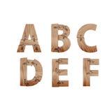 L'alfabeto fatto delle barre di legno si è collegato con i piatti di metallo Fotografia Stock Libera da Diritti