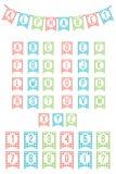 L'alfabeto latino inbandiera i partiti illustrazione di stock