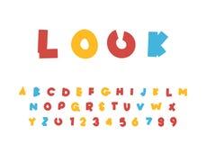 L'alfabeto luminoso dei bambini svegli, illustrazione di vettore del fumetto di ABC, insieme di progettazione di lettera illustrazione di stock