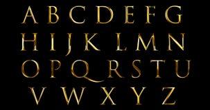 L'alfabeto metallico d'annata dell'oro giallo della fonte segna il simbolo con lettere di serie del testo di parola per firmare s illustrazione vettoriale