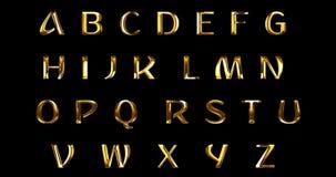 L'alfabeto metallico d'annata dell'oro giallo segna il simbolo con lettere di serie del testo di parola per firmare su fondo nero illustrazione vettoriale