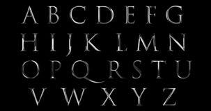 L'alfabeto metallico della fonte dell'argento d'annata di giallo segna il simbolo con lettere di serie del testo di parola per fi illustrazione di stock