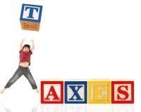 L'alfabeto ostruisce le TASSE Fotografie Stock