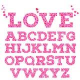 L'alfabeto romantico brillantemente colorato con l'iscrizione di amore fatta di piccolo cuore vivo modella nello stile del mosaic Fotografie Stock