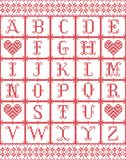 L'alfabeto scandinavo di stile ha ispirato dal Natale norvegese, modello senza cuciture dell'inverno festivo in punto trasversale illustrazione vettoriale