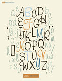 L'alfabeto scritto a mano segna il vettore con lettere ABC per la vostra progettazione Immagini Stock Libere da Diritti