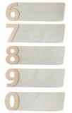 L'alfabeto segna il documento con lettere riciclato numero Fotografia Stock